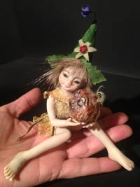 Ooak Baby Fairie Pixie Malika and the sweet Chestnut